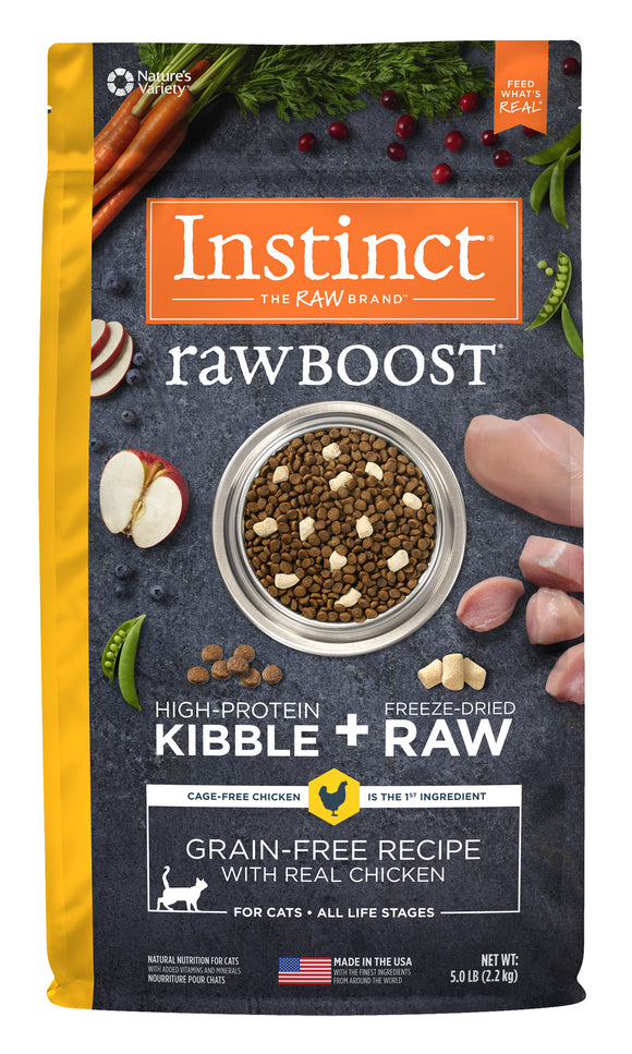 Instinct Raw Boost Grain Free Recipe with Real Chicken Freeze Dried Cat Food 5 Lbs