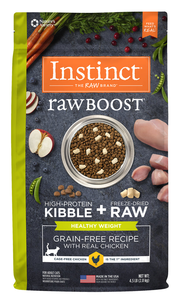Instinct Raw Boost Grain Free Recipe with Real Chicken for Healthy Weight Freeze Dried Cat Food 10 Lbs