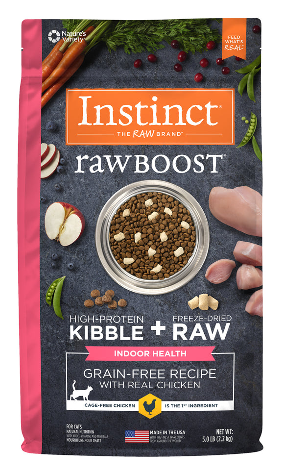Instinct Raw Boost Grain Free Recipe with Real Chicken Indoor Health Freeze Dried Cat Food 5 Lbs