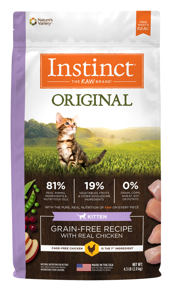 Instinct Original Grain Free Recipe with Real Chicken Kitten Food 4.5 Lbs