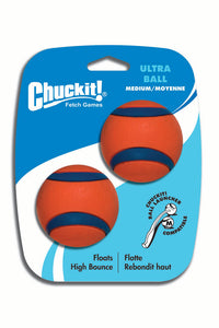 Chuckit! Ultra Ball Dog Toy Orange/Blue Color 2 Pack Medium