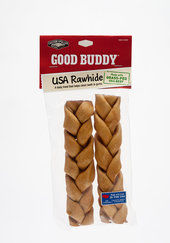 Castor & Pollux Good Buddy USA Rawhide Braided Stick with Natural Chicken Flavor Dog Treats 7 Inch