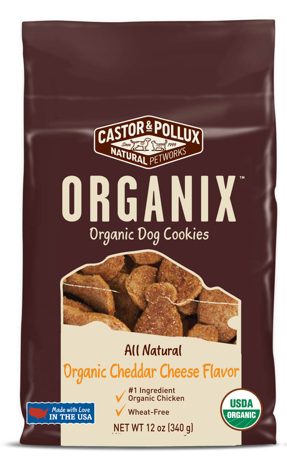 Castor & Pollux Organix Organic Cookies Cheddar Cheese Flavor Dog Treats 12 Oz