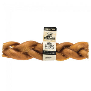 Redbarn Odor-Free Braided Bully Stick Chewy Dog Treat 7 Inch