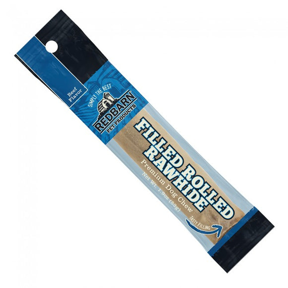 Redbarn Beef Filled Rolled Rawhide Chewy Dog Treat 6 Inch