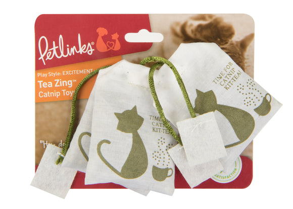 Petlinks Petlinks System Tea Zing Catnip Filled Cat Toys Gray Color 6 X 2 Inch