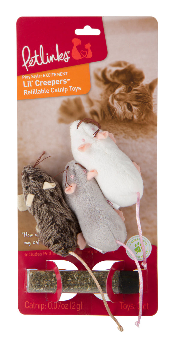 Petlinks Lil Creepers Refillable Mice Cat Toys Gray/White Color 3 Count