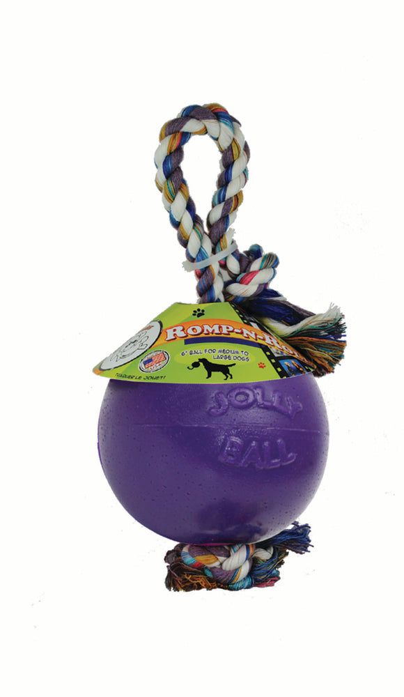 Jolly Pets Romp-n-Roll Tail Wagging Ball Dog Toys Blue Color Medium 6 Inch