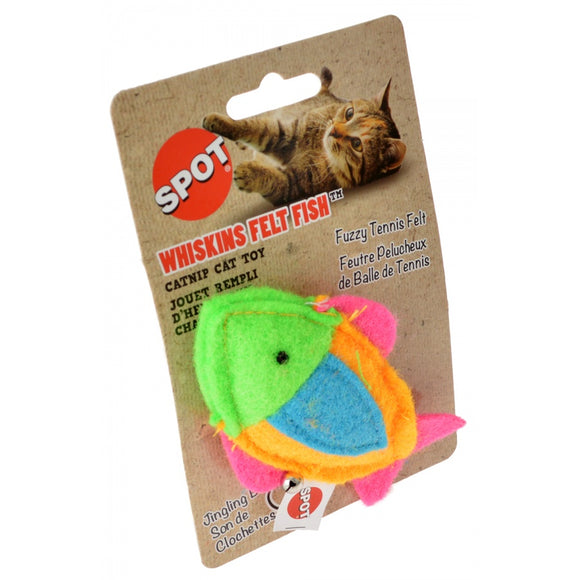 Spot Whiskins Felt Fish wth Catnip - Assorted Colors (52037)