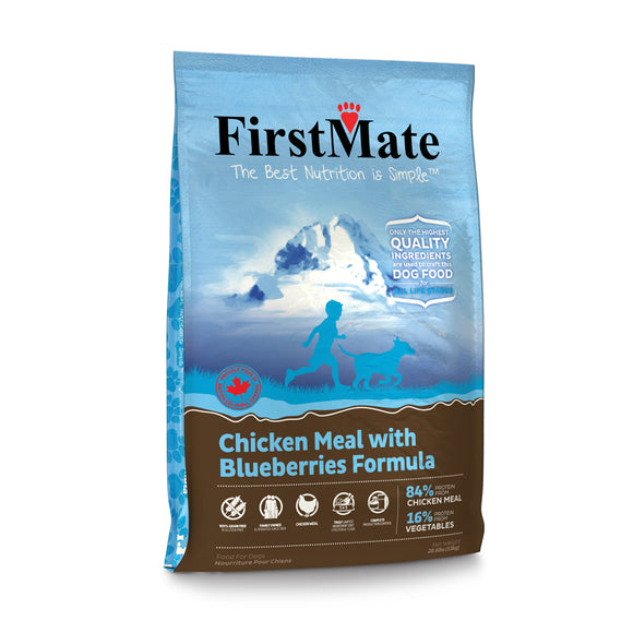FirstMate Grain Free Chicken Meal with Blueberries Formula Dog Food 28.6 Lbs