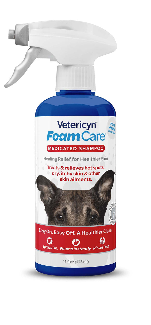 Vetericyn FoamCare Medicated Pet Shampoo for Dog 16 Oz