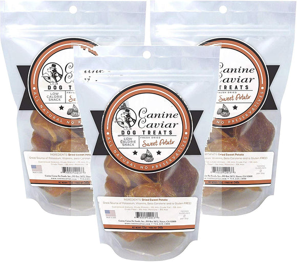Canine Caviar Fresh Dried Sweet Potatoes Dog Treats (3 pack - 12 oz)