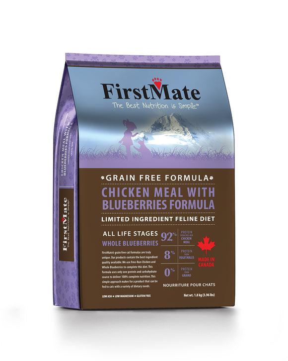 FirstMate Grain Free Limited Ingredient Diet Chicken Meal with Blueberries Formula Cat Food 4 Lbs