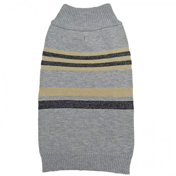 Fashion Pet Shimmer Stripes Dog Sweater - Gray (602265)