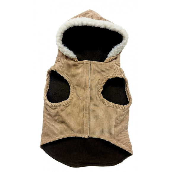 Outdoor Dog Toggle Corduroy Dog Coat - Camel (752795)