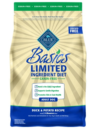Blue Basics Limited Ingredient Diet Grain Free Duck & Potato Recipe Adult Dog Food 4 Lbs
