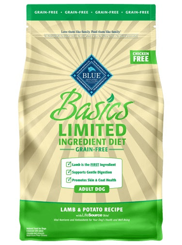 Blue Basics Limited Ingredient Diet Grain Free Lamb & Potato Recipe Adult Dog Food 4 Lbs