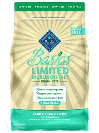 Blue Basics Limited Ingredient Diet Grain Free Lamb & Potato Recipe Small Breed Adult Dog Food 4 Lbs