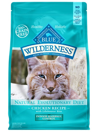 Blue Buffalo Wilderness Natural Evolutionary Diet Indoor Hairball Grain Free Chicken Adult Cat Food 11 Lbs