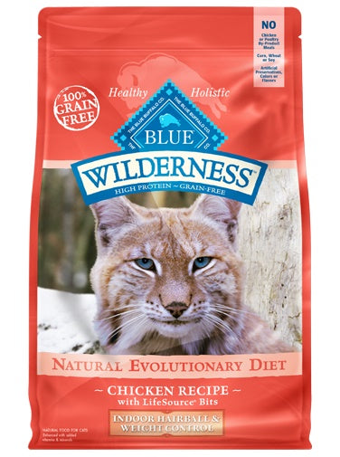 Blue Buffalo Wilderness Natural Evolutionary Diet Indoor Hairball & Weight Control Grain Free Chicken Recipe Adult Cat Food 11 Lbs