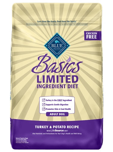 Blue Buffalo Basics Limited Ingredient Diet Turkey & Potato Recipe Adult Dog Food 24 Lbs