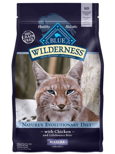 Blue Buffalo Wilderness Grain Free Nature's Evolutionary Diet with Chicken Mature Cat Food 5 Lbs