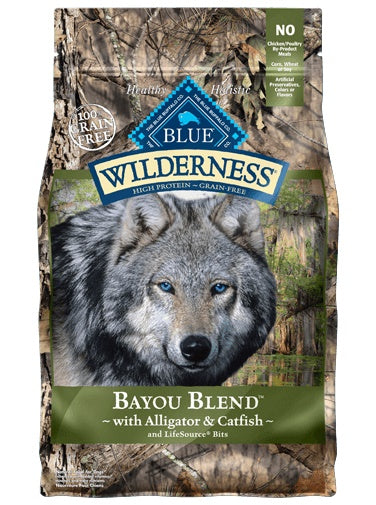 Blue Buffalo Wilderness Grain Free Bayou Blend with Alligator & Catfish Adult Dog Food 22 Lbs