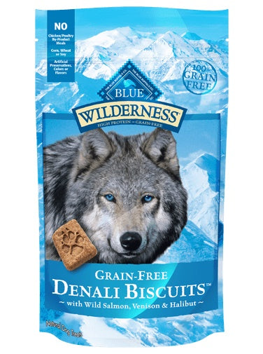 Blue Wilderness Denali Biscuits with Wild Salmon, Venison & Halibut Grain Free Natural Crunchy Dog Biscuits 8 Oz