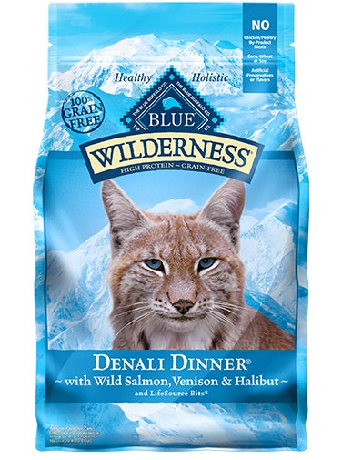 Blue Wilderness Grain Free Denali Dinner with Wild Salmon, Venison & Halibut Adult Cat Food 4 Lbs