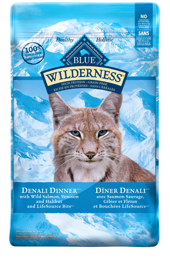 Blue Buffalo Wilderness Denali Dinner with Wild Salmon, Venison & Halibut Grain Free Cat Food 10 Lbs