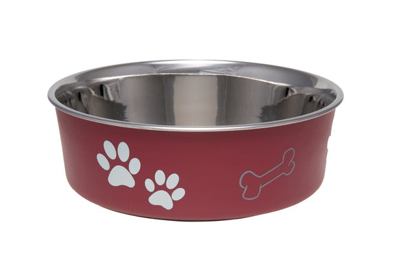 Loving Pets Bella Bowls Classic Pet Dish Merlot Color Medium