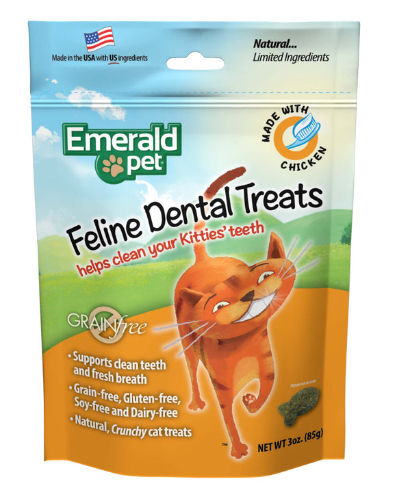 Emerald Pet Grain Free Chicken Feline Dental Treats 3 Oz