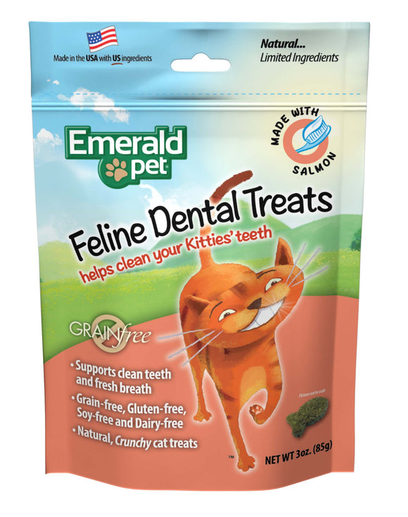 Emerald Pet Grain Free Salmon Feline Dental Treats 3 Oz