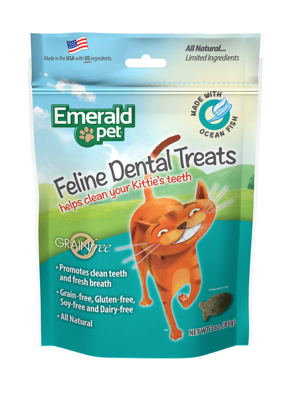 Emerald Pet Grain Free Ocean Fish Feline Dental Treats 3 Oz