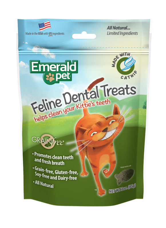 Emerald Pet Grain Free Catnip Feline Dental Treats 3 Oz