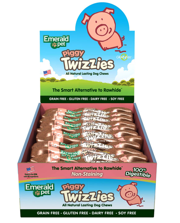Emerald Pet Grain Free Piggy Twizzies Dog Chews Treats 6 Inch X 30 Count
