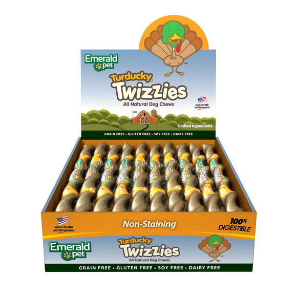 Emerald Pet Grain Free Turducky Twizzies Dog Chews Treats 12 Inch X 30 Count