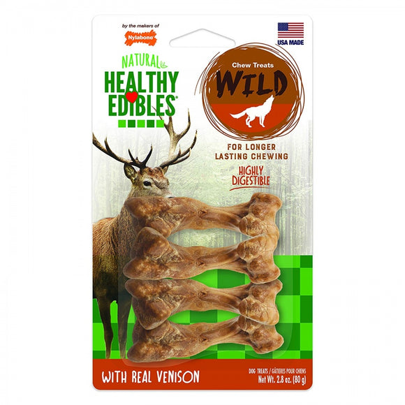 Nylabone Natural Healthy Edibles Wild Venison Chew Treats (NEV201VP4P)