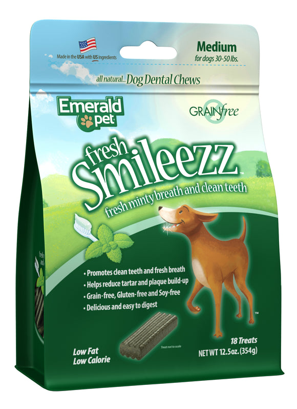 Emerald Pet Fresh Smileezz Grain Free Medium Chews Dog Treats 12.5 Oz