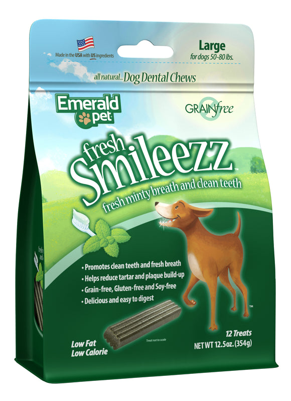 Emerald Pet Fresh Smileezz Grain Free Large Chews Dog Treats 12.5 Oz