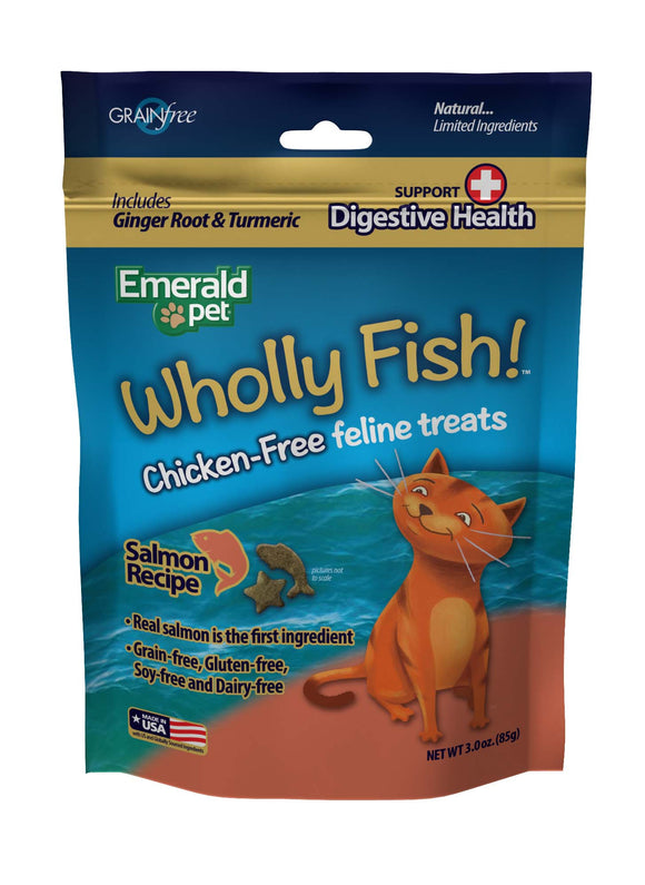 Emerald Pet Wholly Fish Grain Free Salmon Plus Digestive Heath Cat Treats 3 Oz