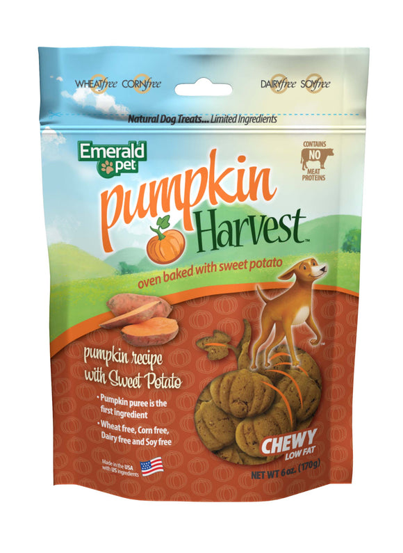 Emerald Pet Harvest Pumpkin Recipe with Sweet Potato Dog Treats 6 Oz