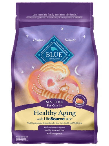 Blue Buffalo Healthy Aging Chicken & Brown Rice Mature Cat Food 7 Lbs