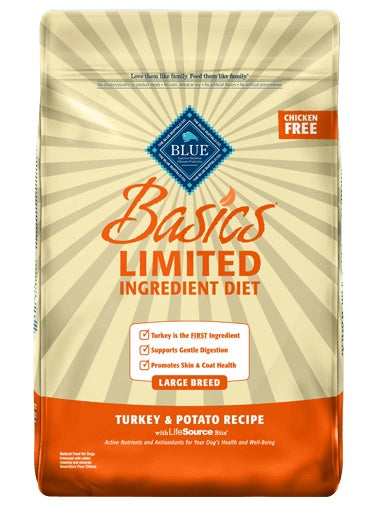 Blue Buffalo Basics Limited Ingredient Diet Turkey & Potato Recipe Large Breed Adult Dog Food 24 Lbs