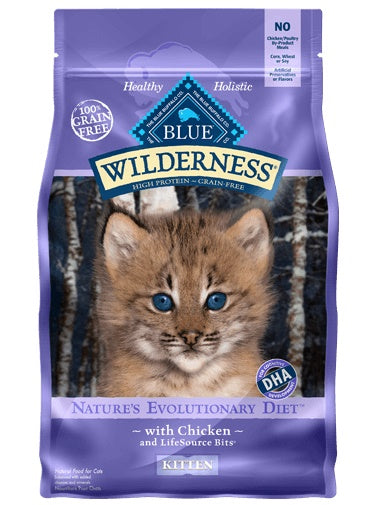 Blue Buffalo Wilderness Nature's Evolutionary Diet Grain Free Chicken Kitten Cat Food 5 Lbs
