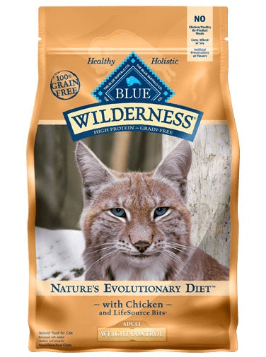Blue Buffalo Wilderness Nature's Evolutionary Diet Weight Control Chicken Adult Cat Food 11 Lbs