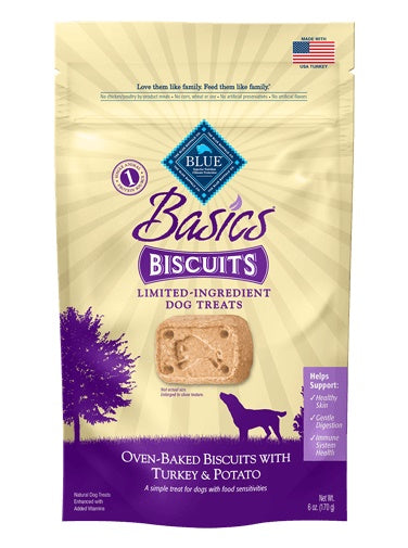 Blue Buffalo Basics Limited Ingredient Diet Turkey & Potato Dog Biscuits 6 Oz