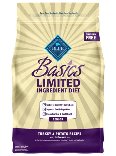 Blue Buffalo Basics Limited Ingredient Diet Turkey & Potato Recipe Senior Dog Food 4 Lbs