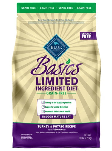 Blue Buffalo Basics Limited Ingredient Diet Grain Free Indoor Turkey & Potato Recipe Mature Cat Food 5 Lbs
