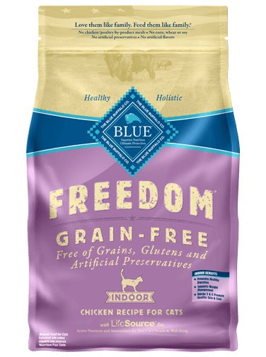 Blue Buffalo Freedom Grain Free Indoor Chicken Recipe Adult Cat Food 5 Lbs